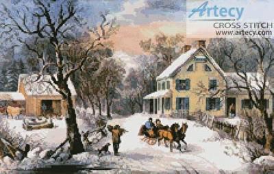 cross stitch pattern American Homestead in Winter