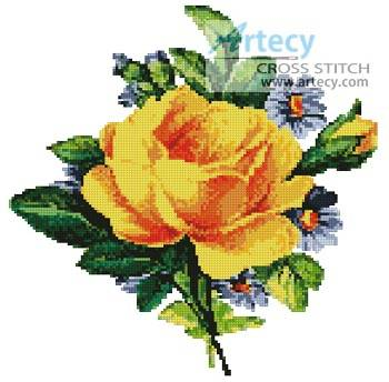 cross stitch pattern Antique Yellow Rose