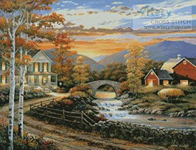 Brookside Farm at Sunset Cross Stitch Pattern farm
