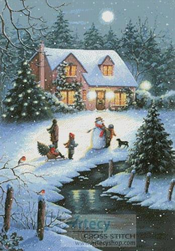 cross stitch pattern Christmas Eve