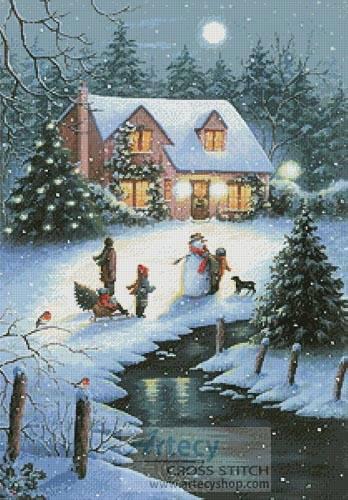 cross stitch pattern Christmas Eve