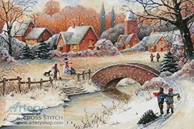 cross stitch pattern Christmas Town