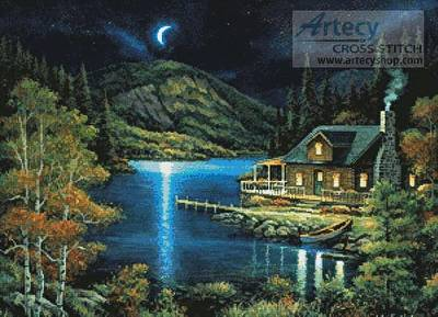 cross stitch pattern Moonlit Cabin