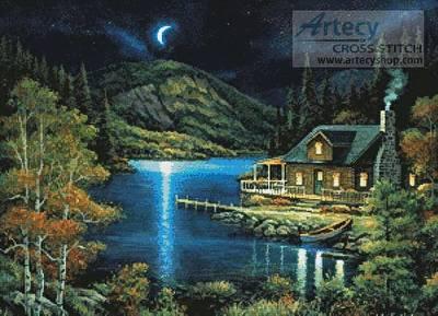 cross stitch pattern Moonlit Cabin