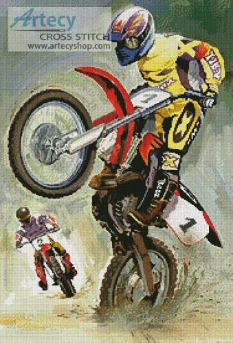 cross stitch pattern Off Road Riders