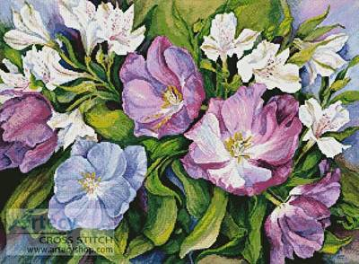 cross stitch pattern Purple Tulips and White Alstroneria