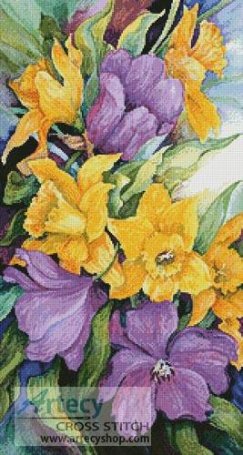 cross stitch pattern Tulips and Daffodils