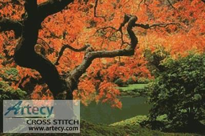 cross stitch pattern Autumn Tree