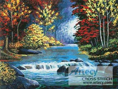 cross stitch pattern Autumn River