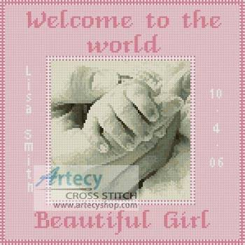 cross stitch pattern Baby Girl Hand Sampler