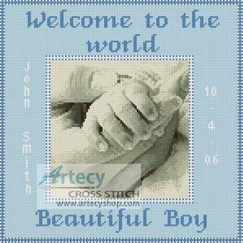 cross stitch pattern Baby Boy Hand Sampler