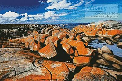 cross stitch pattern Binalong Bay, Tasmania