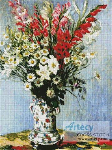 cross stitch pattern Bouquet of Gladiolas, Lilies and Daisies