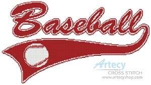 cross stitch pattern Baseball Sign