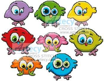cross stitch pattern Cartoon Birds Singles