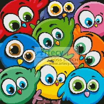 Cartoon Birds Cushion Cross Sch Pattern cartoon on