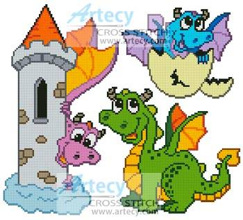 cross stitch pattern Cute Dragon Set