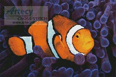 cross stitch pattern Clownfish in Anemone