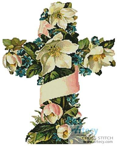 cross stitch pattern Cross of Flowers 1