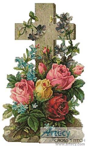 cross stitch pattern Cross of Flowers 2