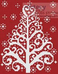 cross stitch pattern Christmas Tree Card