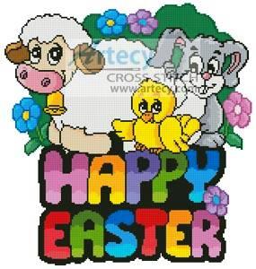 cross stitch pattern Cute Happy Easter