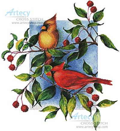 cross stitch pattern Colourful Cardinals