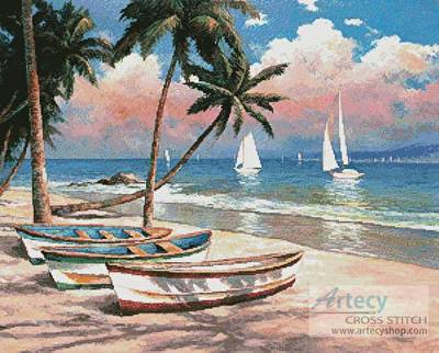 cross stitch pattern Three Boats on a Tropical Beach