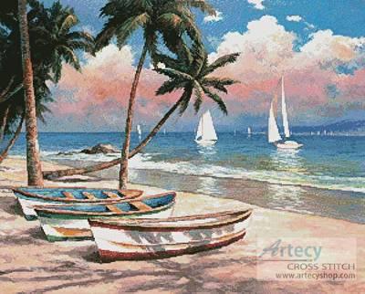 cross stitch pattern Three Boats on a Tropical Beach