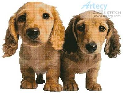 cross stitch pattern Dachshund Puppies