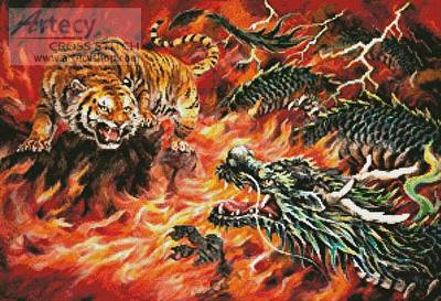 cross stitch pattern Dragon and Tiger in the Fire