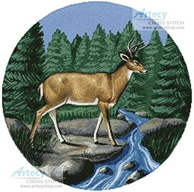 cross stitch pattern Deer Circle