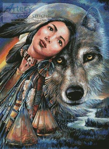 cross stitch pattern Dream of the Wolf Maiden