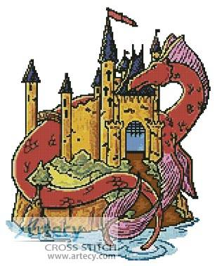 cross stitch pattern Dragon Castle