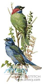 cross stitch pattern Finch and Blue Bird