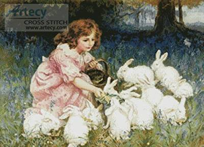 cross stitch pattern Feeding the Rabbits