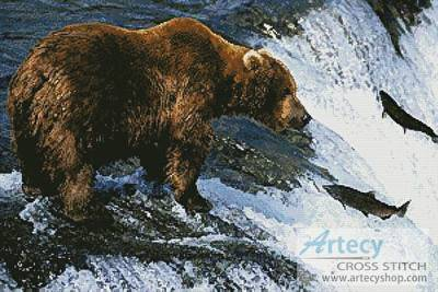 cross stitch pattern Grizzly Bear Salmon Fishing