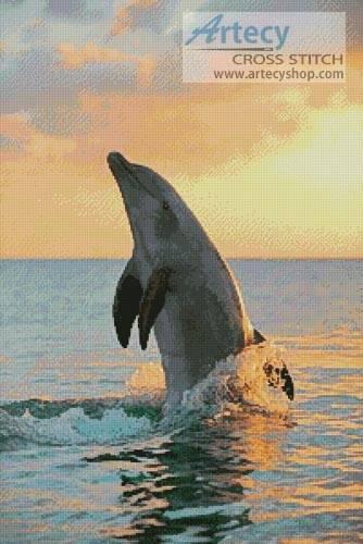 cross stitch pattern Golden Sunset Dolphin