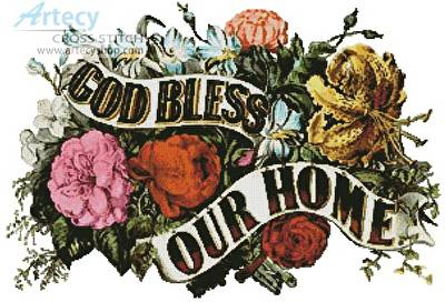 cross stitch pattern God Bless our Home 2