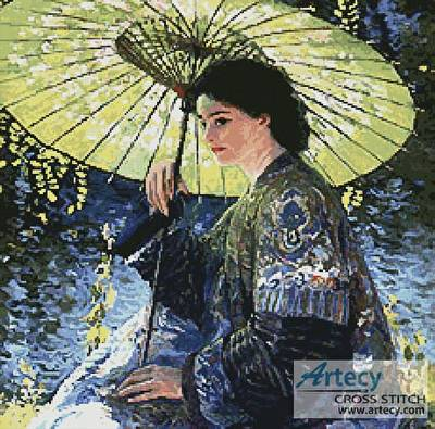 cross stitch pattern The Green Parasol