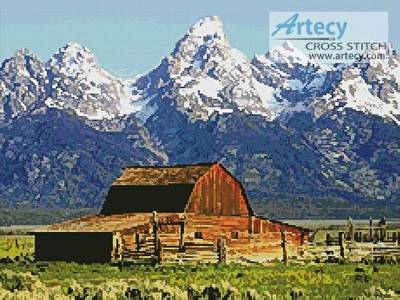 cross stitch pattern Grand Tetons Barn