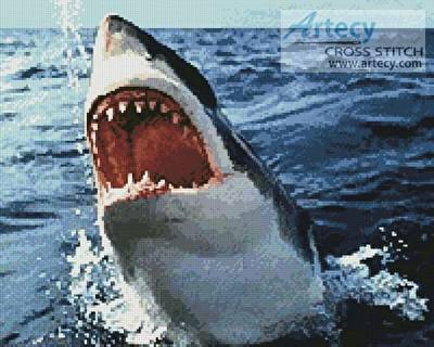 cross stitch pattern Great White
