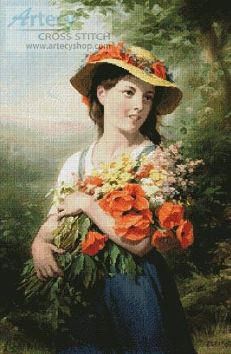 cross stitch pattern Girl with Bouquet of Wild Flowers