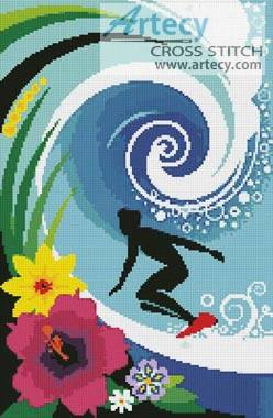 cross stitch pattern Hawaiian Surfer
