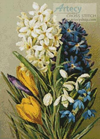 cross stitch pattern Hyacinths, Crocus, Snowdrops and Scillas