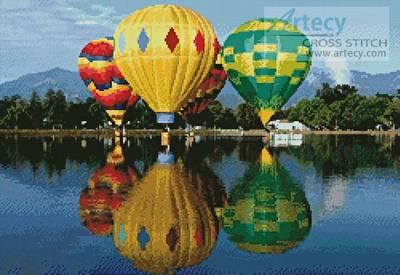 cross stitch pattern Hot Air Balloons Reflection