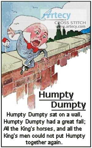 cross stitch pattern Humpty Dumpty Verse