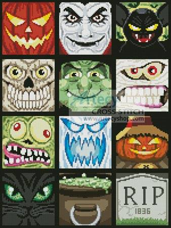 cross stitch pattern Halloween Minis