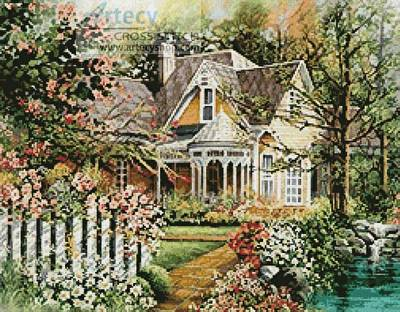 cross stitch pattern House with Picket Fence