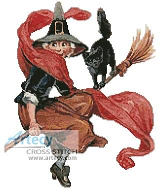 cross stitch pattern Halloween Witch 2